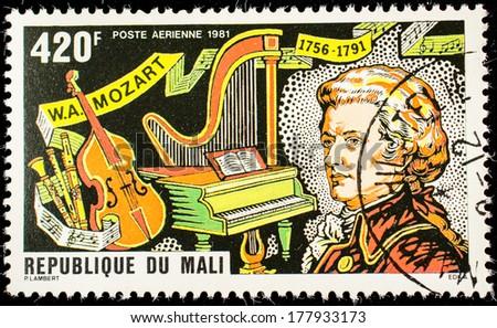 MALI - CIRCA 1981: A stamp printed by Mali, shows great composer Wolfgang Amadeus Mozart, circa 1981 - stock photo