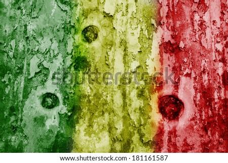 Mali flag on a weathered grunge background - stock photo