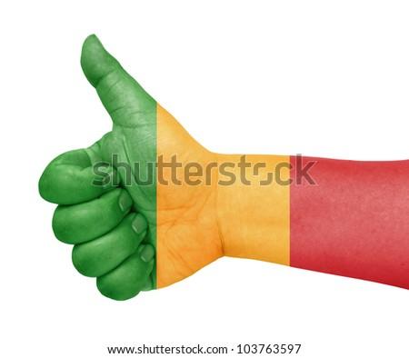 Mali flag on thumb up gesture like icon on white background - stock photo