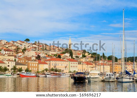 Mali Losinj waterfront and harbor, Island of Losinj, Dalmatia, Croatia - stock photo