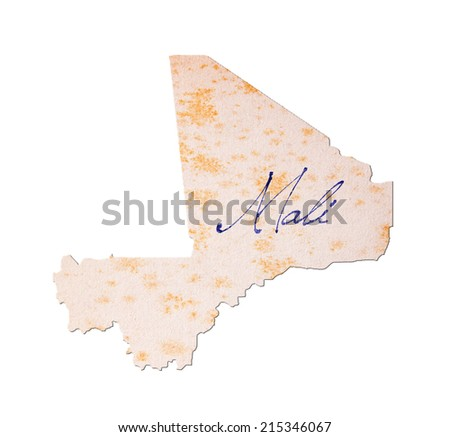 Mali - Old paper with handwriting, blue ink - stock photo