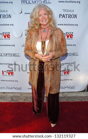 "MALIBU, CA - AUGUST 05: Connie Stevens at ""Bow Wow Ciao"" to Benefit Much Love Animal Rescue on August 05, 2006 at John Paul and Eloise Dejoria Estate in Malibu, CA. - stock photo"