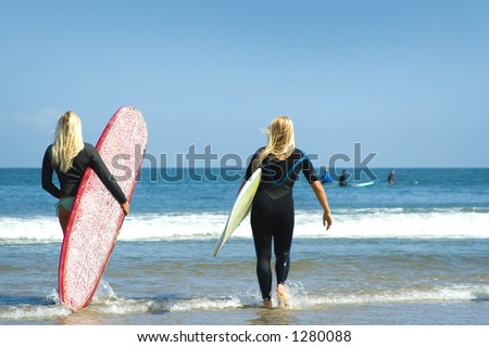 malibu surf girls - stock photo
