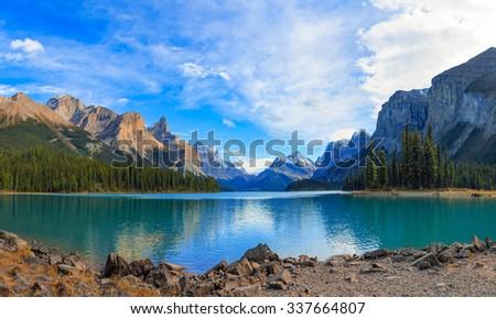 Maligne Lake in Jasper national park, Alberta, Canada - stock photo