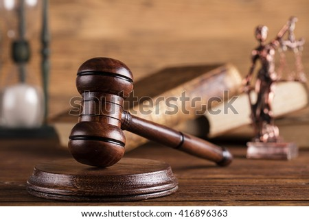 Mallet, legal code and statue of justice. Law concept, studio shots  - stock photo