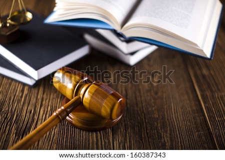 Mallet of judge, legal code - stock photo