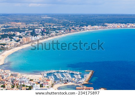 mallorca, can picafort, sant pere  aerial shot city, beach and sea - stock photo
