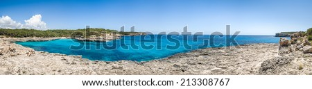 Mallorca national park. Cala Mandrago bay panorama - stock photo