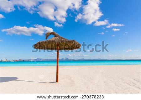 Mallorca Platja de Alcudia beach in Majorca Balearic islands - stock photo