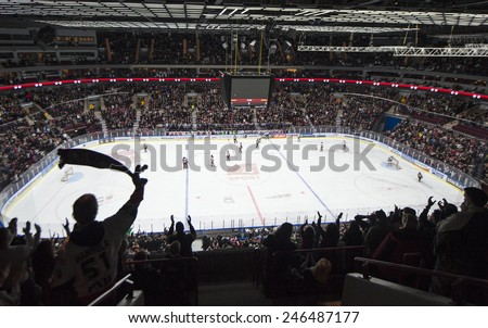 MALMO, SWEDEN-FEBRUARY 20, 2008: panoramic view of the hockey arena, in Malmo. - stock photo