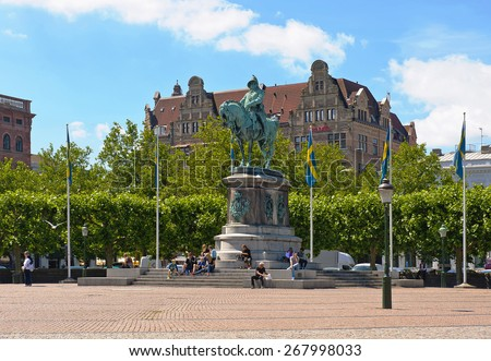 MALMO, SWEDEN - JUNE 30: Equestrian statue of Charles X Gustav at Stortorget square on June 30, 2014 in Malmo - stock photo