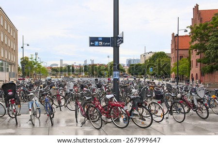 MALMO, SWEDEN - JUNE 29: Many bicycles in the city center on June 29, 2014 in Malmo. - stock photo