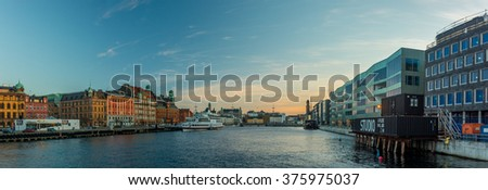 MALMO, SWEDEN - NOVEMBER 8, 2015: panoramic view of Malmo at sunset, Sweden - stock photo