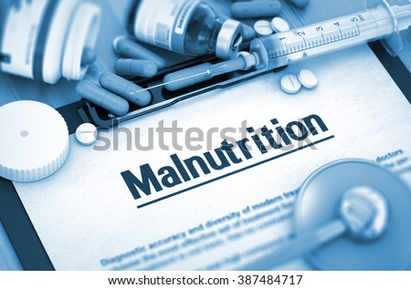 Malnutrition - Medical Report with Composition of Medicaments - Pills, Injections and Syringe. Malnutrition - Printed Diagnosis with Blurred Text. 3D. - stock photo