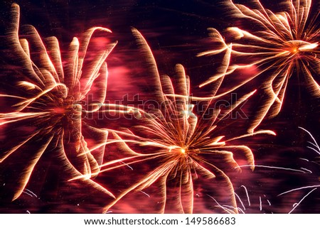 Malta Fireworks Festival beautiful, colorful lights in the night sky - stock photo