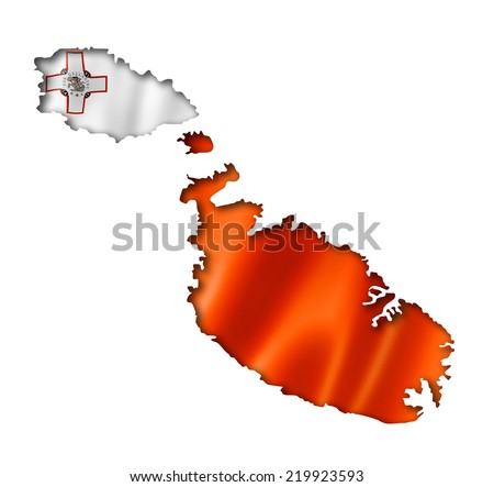 Malta flag map, three dimensional render, isolated on white - stock photo