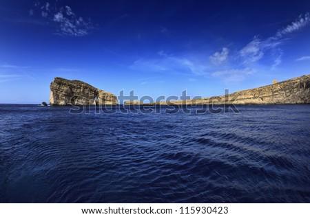 Malta Island, Gozo, Dweira Bay, view of the rocky coastline of the island - stock photo