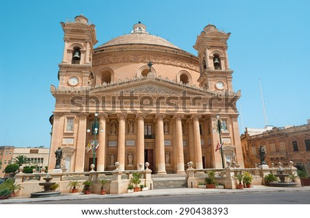 Malta - Rotunda of Mosta (Rotunda of St Marija Assunta) wih the third-largest church dome in Europe (40 meters in diameter). - stock photo
