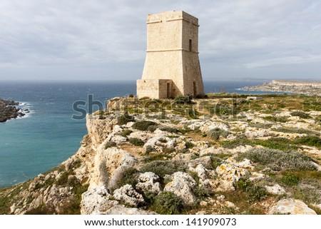Malta watch tower - stock photo