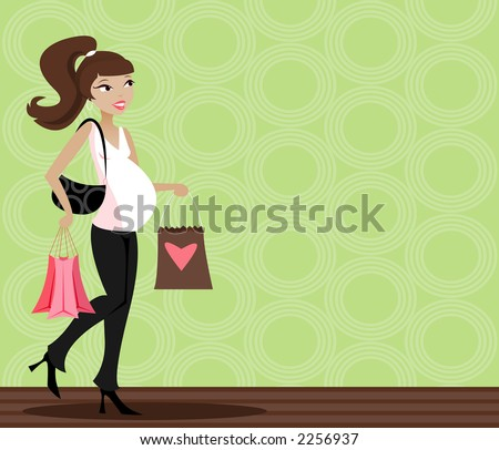 Mama-to-be in stylish black and white, carrying shopping bags - stock photo