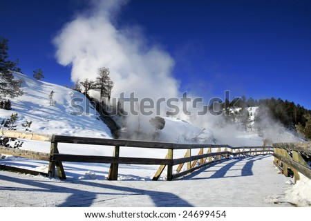 Mammoth Hot Springs in Yellowstone National Park - stock photo