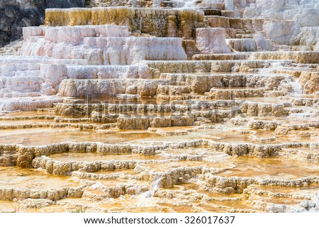 Mammoth Hot Springs in Yellowstone National Park, Wyoming, USA - stock photo