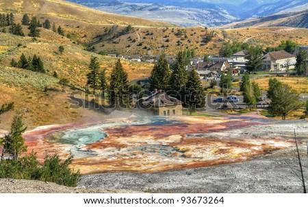 Mammoth Hot Springs, Yellowstone National Park. - stock photo