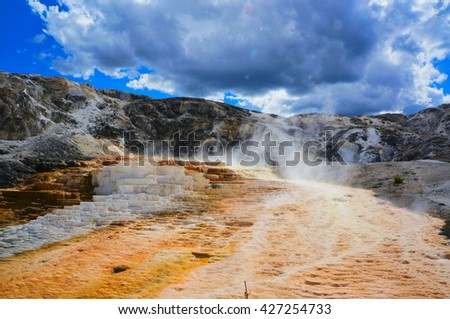 Mammoth Hot Springs, Yellowstone National Park,Wyoming - stock photo