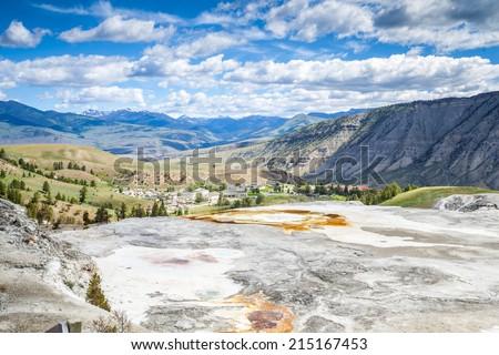 Mammoth Hot Springs, Yellowstone National Park, Wyoming, USA - stock photo