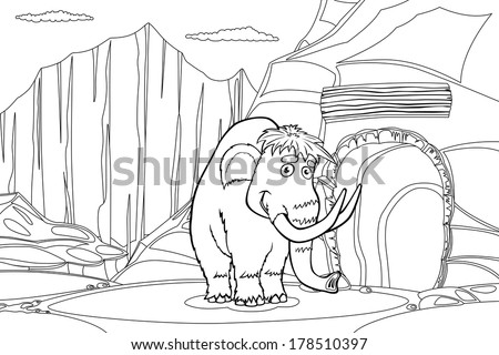 Mammoth near cave in the ice rock, black and white illustration - stock photo