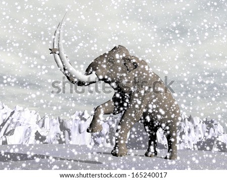 Mammoth walking in the mountain by snowing winter weather - stock photo