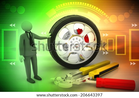 Man advertises car service on a  background - stock photo