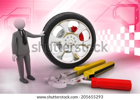 Man advertises car service on a color background - stock photo