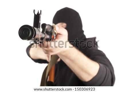 Man aiming at the target - stock photo