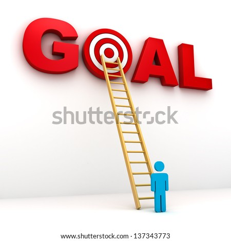 Man aiming to his target in red word goal , Business goal concept - stock photo