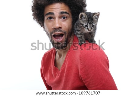 Man and a cat - stock photo