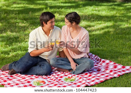 Man and a woman looking at each other while raising their glasses of orange juice during a picnic - stock photo