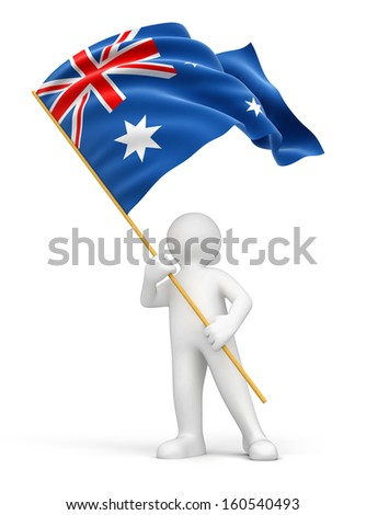 Man and Australian flag (clipping path included) - stock photo