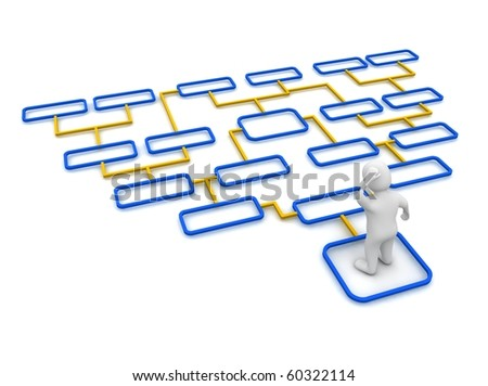 Man and complicated diagram. 3d rendered illustration. - stock photo