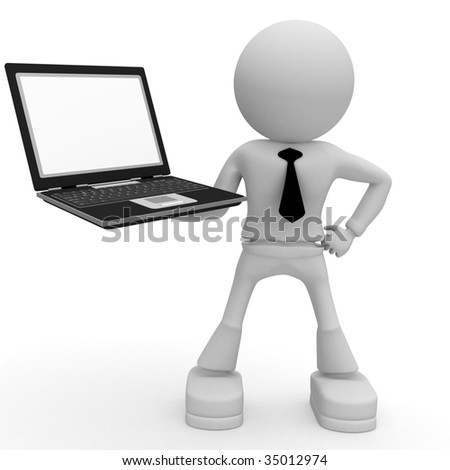 man and computer - stock photo