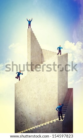 man and 3d abstract tower - stock photo