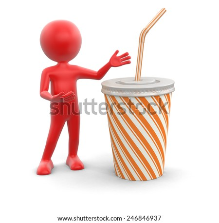 Man and Disposable cup (clipping path included) - stock photo