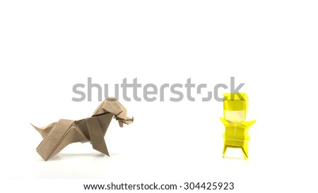 man and dog origami on white background - stock photo