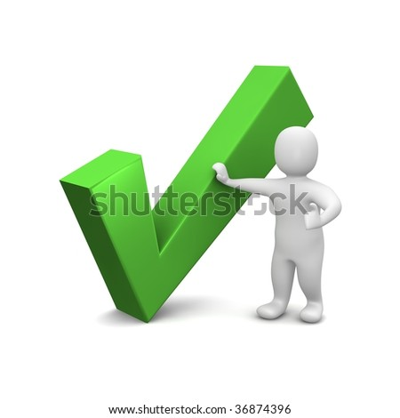 Man and green check mark. 3d rendered illustration. - stock photo