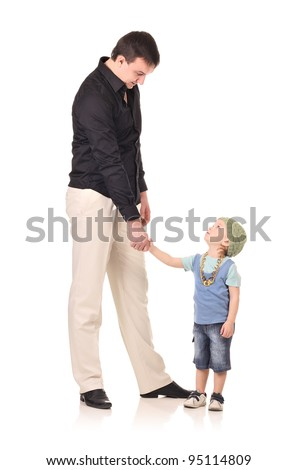 Man and little boy shaking hands isolated on the white - stock photo