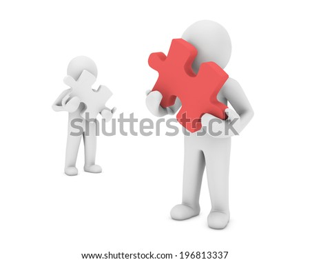 man and puzzle - stock photo