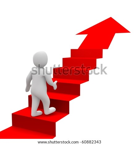 Man and red stairs. 3d rendered illustration. - stock photo