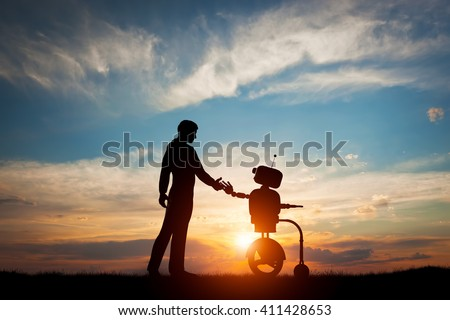 Man and robot meet and handshake. Concept of the future interaction with artificial intelligence. 3D rendering.  - stock photo