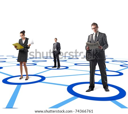 man and woamn standing on 3d virtual connection - stock photo