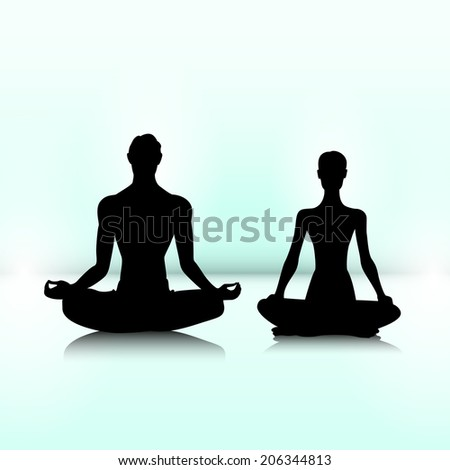 Man and woman are sitting in meditation pose - stock photo